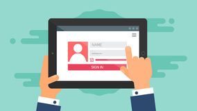 Web Template of Tablet Login Form Royalty Free Stock Photo