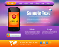 Web Template Vector Design. Web template design with mobile phone Stock Photography