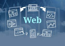 Web text with drawings graphics Stock Image