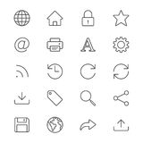 Web thin icons. Simple, Clear and sharp. Easy to resize Royalty Free Stock Images