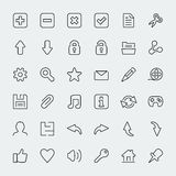 36 web thin line vector icons Stock Photography