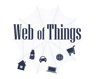 Web of things concept. The Web of Things is an evolution of the Internet of Things where everyday devices and objects, are connected by fully integrating them to Royalty Free Stock Images