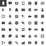 Web tools icons set. Modern solid symbol collection, filled pictogram pack. Signs, logo illustration. Set includes icons as email, location, browser, search Stock Photography