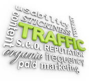 Web Traffic 3D Word Collage Online Reputation Website Visitors Royalty Free Stock Photography