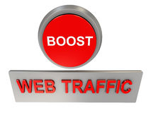 Web traffic boost. 3d render of web traffic boost button Stock Photo