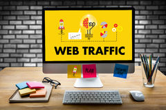 WEB TRAFFIC (business, technology, internet and networking concept ) stock photography