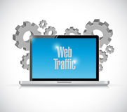 Web traffic gears and laptop illustration design Royalty Free Stock Image