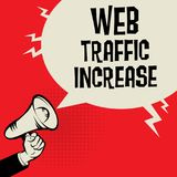 Web Traffic Increase business concept. Megaphone Hand business concept with text Web Traffic Increase, vector illustration Royalty Free Stock Images