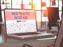 Web Traffic Increase Concept on Laptop Screen. 3D. Stock Photo