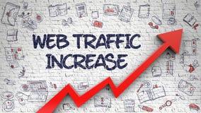 Web Traffic Increase Drawn on Brick Wall. Brick Wall with Web Traffic Increase Inscription and Red Arrow. Development Concept. Web Traffic Increase - Modern Royalty Free Stock Images