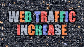 Web Traffic Increase in Multicolor. Doodle Design. Royalty Free Stock Image