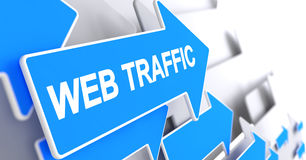 Web Traffic - Message on the Blue Cursor. 3D. Stock Images