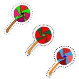 web Trois lucettes en spirale douces tourbillonnent sur le fond blanc illustration libre de droits