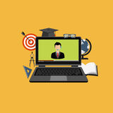 Web tutorials. Education, training, on line tutorial, e-learning concept. Laptop with video on line training on the screen, with icons. Flat  illustration Royalty Free Stock Images
