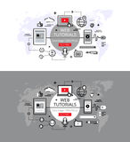 Web tutorials. Flat line color hero images and hero banners desi. Set of modern  illustration concepts of web lectures and tutorials. Line flat design hero Royalty Free Stock Images