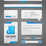 Web UI Controls Elements Gray And Blue On Dark Background Stock Image