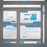 Web UI Controls Elements Gray And Blue On Dark Background Royalty Free Stock Photo