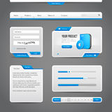 Web UI Controls Elements Gray And Blue On Dark Background Royalty Free Stock Images