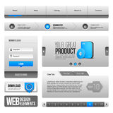 Web UI Controls Elements Gray And Blue On White Background: Navigation Bar, Buttons, Form, Slider, Message Box, Menu, Tabs Royalty Free Stock Image