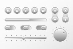 Web UI UX Music Elements Design set: Buttons, Switchers, Slider, loader Royalty Free Stock Photography