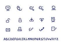 Web und handgeschriebene Ikonen des Büros Stockfoto