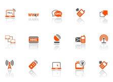 Web und schließt Ikonen an Lizenzfreies Stockbild