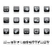 Web und schließt Ikonen an Stockfoto