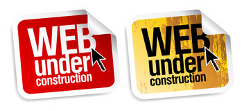 Web under construction stickers. Royalty Free Stock Photography