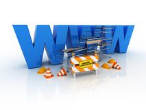 Web under constructions. 3d illustration of word www with warning character Royalty Free Stock Image