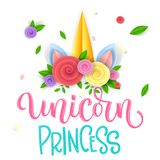 Unicorn Princess hand drawn isolated colorful calligraphy phrase with paper cut Unicorn horn with paper flowers royalty free illustration