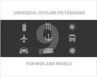 Web universal outline symbols Stock Photography