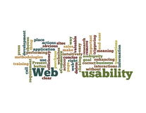 Web Usability word cloud isolated. Word Cloud Illustration of Web Usability on white Royalty Free Stock Images