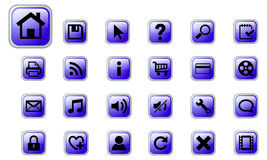 Web vector icons set. A set of 24 blue vector buttons on white background Stock Photo