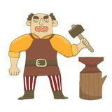 Vector illustration of a male blacksmith with a hammer and anvil. Gloomy, severe, holds a hammer, in a yellow shirt, in an apron, royalty free illustration