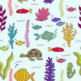 Underwater animals and underwater plantings. Seamless pattern royalty free illustration