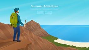 Web vectorbanner met reiziger op het onderwerp van het beklimmen Royalty-vrije Stock Afbeeldingen