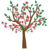 web Vectorillustratie van een abstracte tot bloei komende kersenboom die op een witte achtergrond wordt geïsoleerd royalty-vrije illustratie