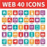 Web 40 Vectorpictogrammen Stock Afbeeldingen