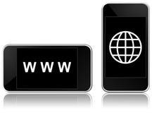 Web-verbundenes intelligentes Telefon Stockbild
