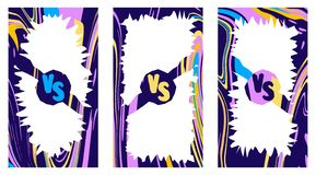 Versus screen. Set of editable vertical templates with a ratio of 16 to 9 vector illustration