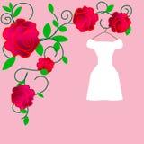web Vestiti da sposa eleganti per la sposa graziosa Illustrazione isolata di vettore nello stile piano Siluetta classica e modern illustrazione vettoriale
