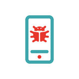 Web virus guard sign on smartphone vector illustration. Stock Images