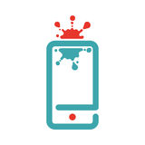 Web virus guard sign on smartphone vector illustration. Stock Photography