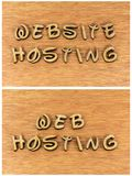 Web website hosting wood letters message. Internet online web website hosting customs design training learning education educational business services wooden Royalty Free Stock Photos