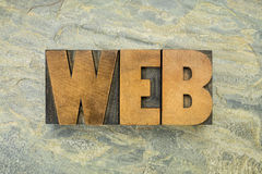 Web word in wood type Royalty Free Stock Photography