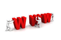 Web workers with WWW sign Royalty Free Stock Photography