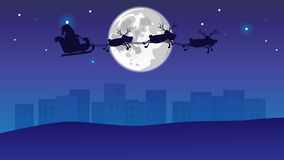 Xmas rein deers and santa flies over the night modern city vector illustration