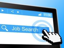 Web y análisis de Job Search Indicates World Wide Foto de archivo