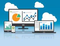 Web y concepto del analytics de SEO - ejemplo stock de ilustración