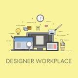 Web y diseño y el convertirse móviles Lugar de trabajo del diseñador Fotos de archivo